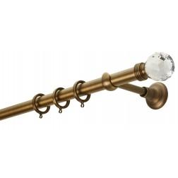 Κουρτινόβεργα Zogometal CL0434 Single Tube - Double Rail  σε χρώμα μπρονζέ ματ.