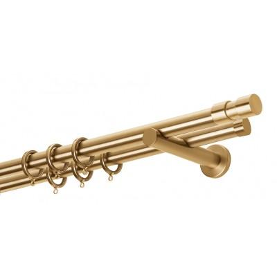Κουρτινόβεργα Zogometal A4142-Single- DoubleTube σε χρώμα χρυσό/ματ